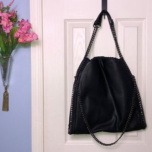 Steve Madden black faux leather chain bag
